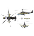 blueprint camouflage military helicopter vector image vector image