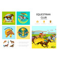 cartoon equestrian sport infographic concept vector image