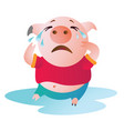 cartoon pig sits in a pool of tears and cries vector image vector image