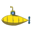 Cartoon yellow submarine hand drawn vector image