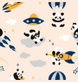 Childish seamless panda pattern with hand drawn
