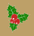 christmas holly berry with red berries and green vector image