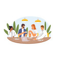 colleagues sitting at dining table at coffee break vector image vector image