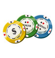 colorful casino tokens icon cartoon style vector image vector image