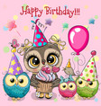 cute owls with balloon and bonnets vector image vector image
