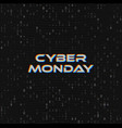 cyber monday sale web banner on binary code vector image vector image
