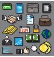 Digital Pixel Financial Icons Set vector image