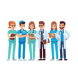 doctors set medical staff team doctor nurse vector image