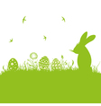 Easter meadow eggs bunny vector image vector image