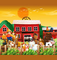 farm in nature scene with farm house and animal vector image