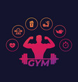 fitness and training icons gym and workout vector image