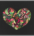 floral heart hand drawn creative flowers romance vector image