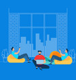 freelancer activity in coworking modern space vector image vector image