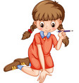 Girl writing with pencil vector image vector image
