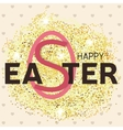 Gold glitter Happy Easter greeting card vector image