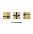 golden gift boxes with black ribbons and bows vector image vector image