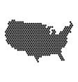 hexagonal mosaic in a shape of usa map black vector image vector image