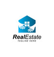 home with hand logo vector image