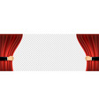 human hands open a red curtain art background vector image vector image