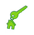 key with keychain as an house sign lemon vector image vector image