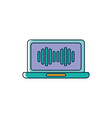 laptop computer equalizer melody sound music line vector image