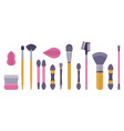 make-up brushes and sponges flat icon set vector image vector image
