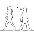 man whistling at passing woman vector image vector image