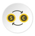 Money exchange icon flat style vector image