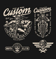 motorcycle vintage monochrome badges vector image