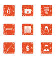 mugging icons set grunge style vector image vector image