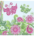 Nature pattern background butterflies vector image vector image