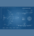 outline blueprint of military aircraft vector image vector image