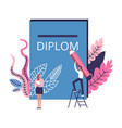 people working on diploma man with pencil writing vector image vector image