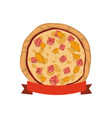 pizza pineapple ham cheese vector image