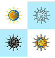 polio virus icon set in flat and line style vector image vector image
