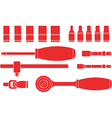Ratchet and Socket Icon Set vector image vector image