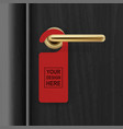 realistic paper red door hanger on black vector image