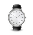 realistic silver steel classic unisex wrist watch vector image