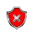 red shield sign decline 3d symbol isolated on vector image vector image
