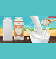 rice milk splash mock up realistic product vector image vector image