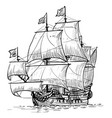 sailing ship vintage frigate on waves hand vector image
