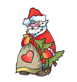 Santa Claus with fir tree and bag with gifts in vector image