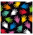 Seamless pattern of colored randomly hands vector image