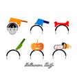 set of halloween costume headbands for halloween p vector image