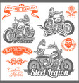 set of vintage motorcycle t-shirt prints emblems vector image vector image