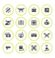 Set round icons of quadrocopter and drone vector image