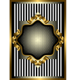 Silver frame with gold decor on striped background vector image vector image