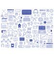 social media doodles hand drawn network vector image