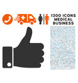 success thumb up icon with 1300 medical business vector image vector image