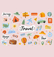 travel cute stickers template set vector image